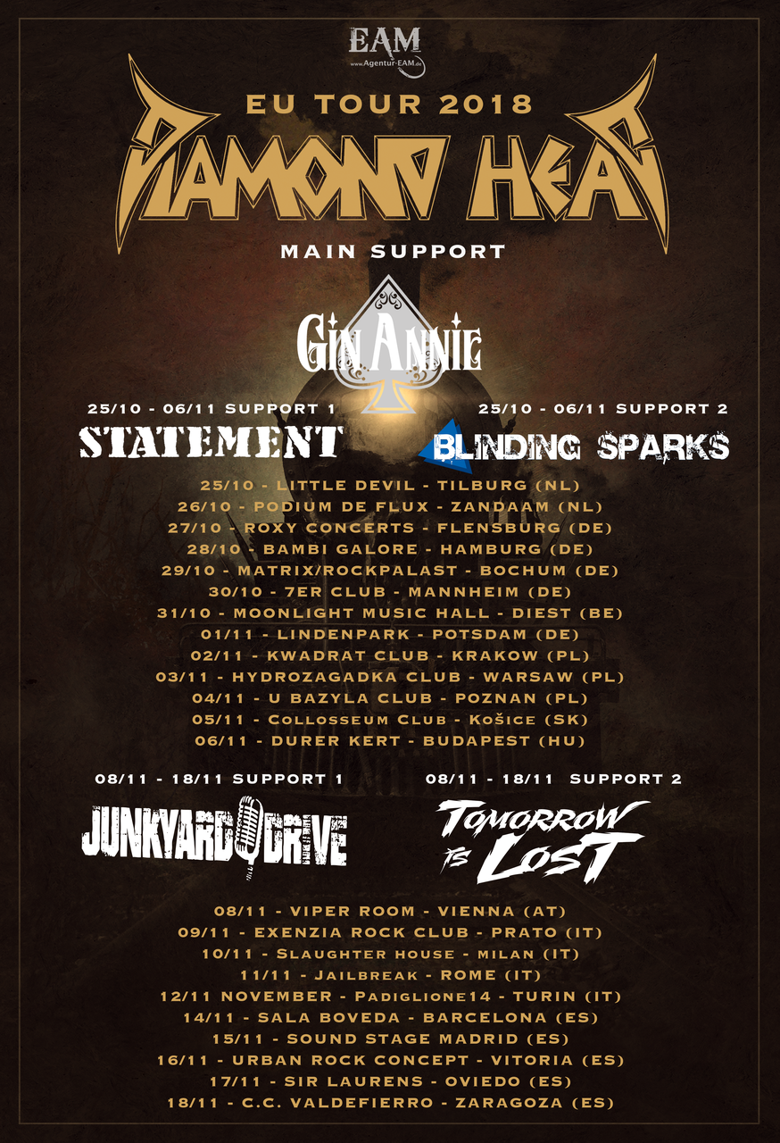 Diamond Head European Tour 2018
