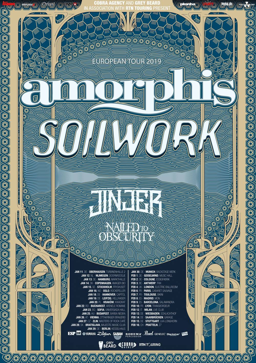 Nailed To Obscurity Tour With Amorphis, Soilwork, Jinjer